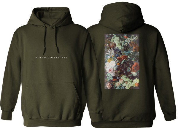Poetic Collective, Hoodie, Flower, olive