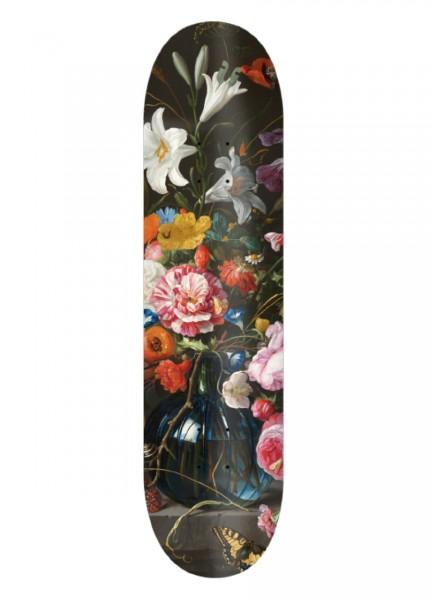 "Über Skateboards, Flowers, Deck MC, wood red - 8.25"""